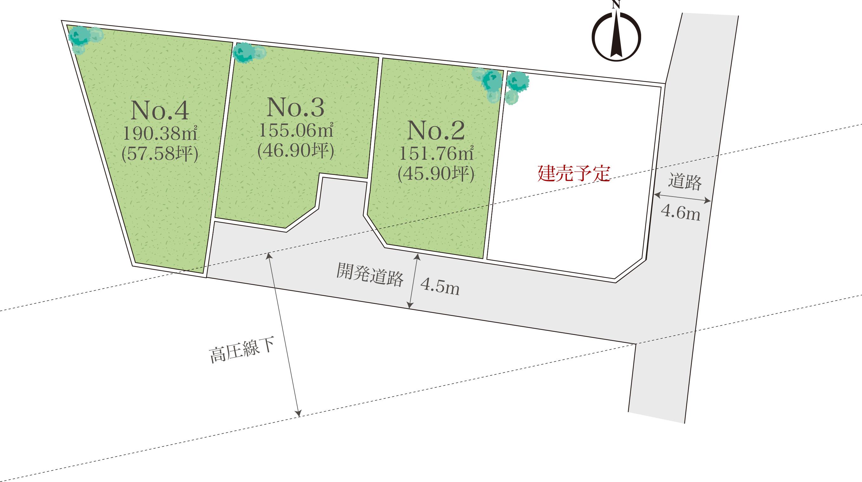 小田原市飯泉4区画開発分譲地