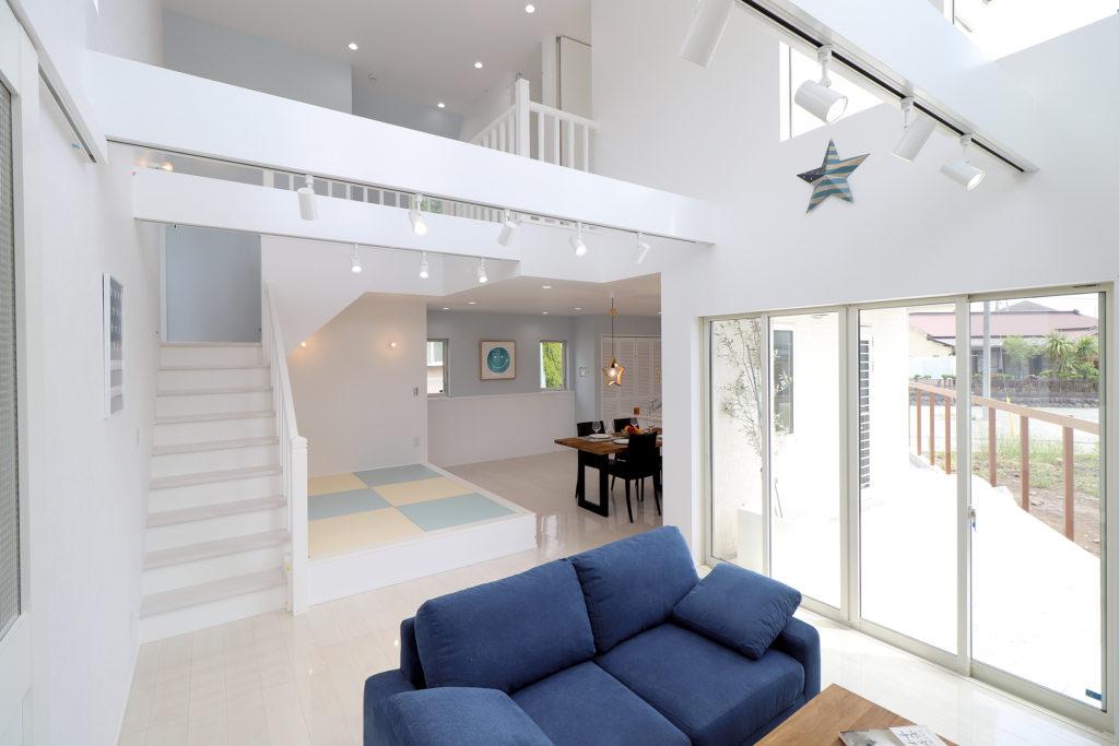 大空間を楽しむ爽やかな邸宅
